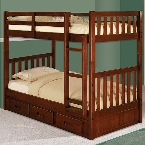 Beautiful Merlot Twin Over Twin Bunk Bed in Rich