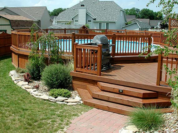 Pool Deck In Wooden Fence