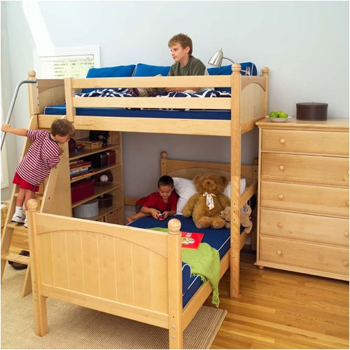 Unique Twin High Loft Bunk Bed with High Bookcase
