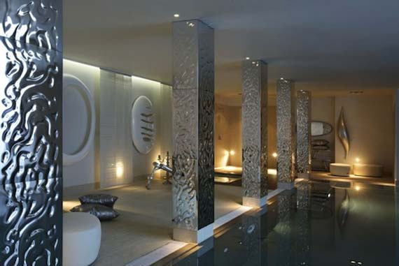 Catchy Home Interior Design With Glamorous Accent And Decoration Unique Pattern Of Pool Pillar Photos